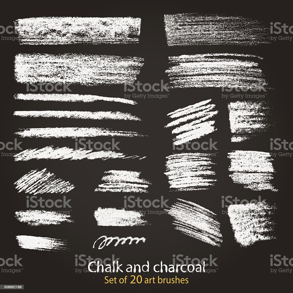 Set of textures. Blackboard and chalk vector art illustration