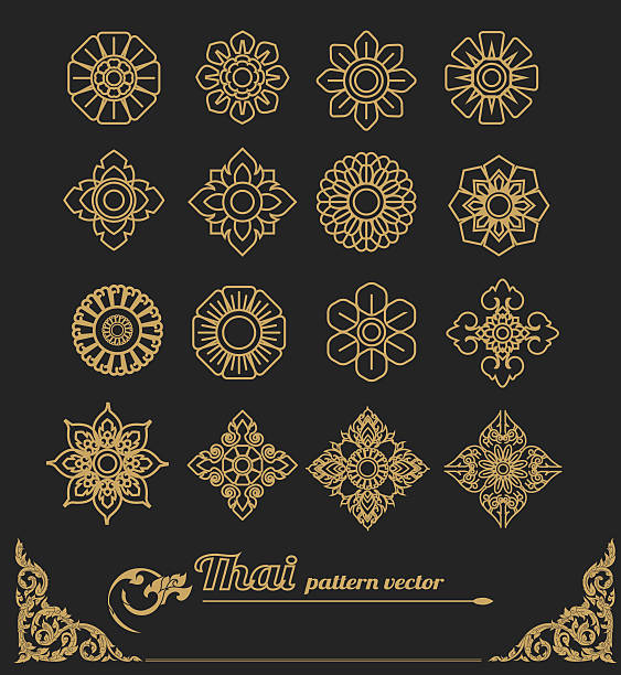 stockillustraties, clipart, cartoons en iconen met set of thai art design, flower design.vector illustration - thailand