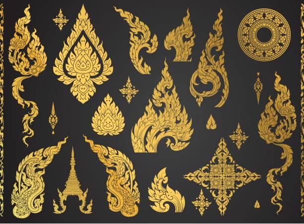 stockillustraties, clipart, cartoons en iconen met set van thaise kunst element, decoratieve motieven. etnische kunst, pictogram vector - thailand