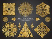 Set of Thai art element, Decorative motifs. Ethnic Art