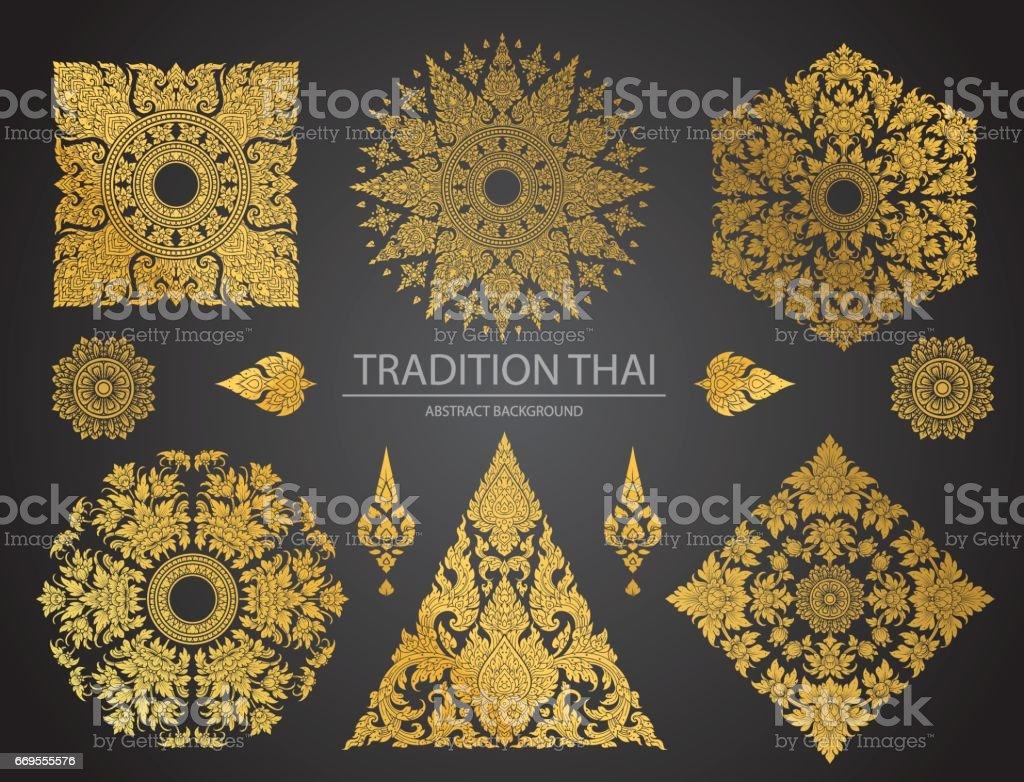Set of Thai art element, Decorative motifs. Ethnic Art vector art illustration