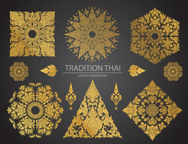 stockillustraties, clipart, cartoons en iconen met set van thaise kunst element, decoratieve motieven. etnische kunst - thailand