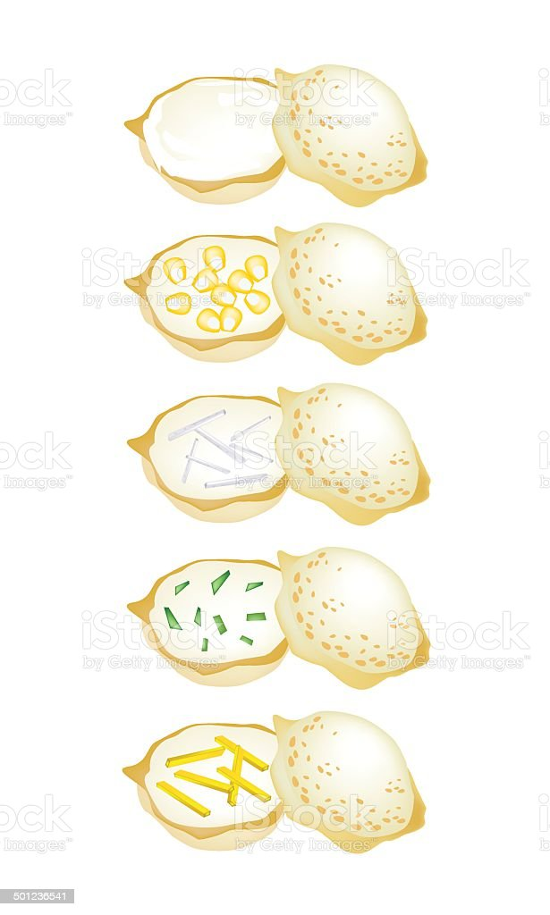 Set of Thai Coconut Rice Cake on White Background royalty-free set of thai coconut rice cake on white background stock vector art & more images of appetizer