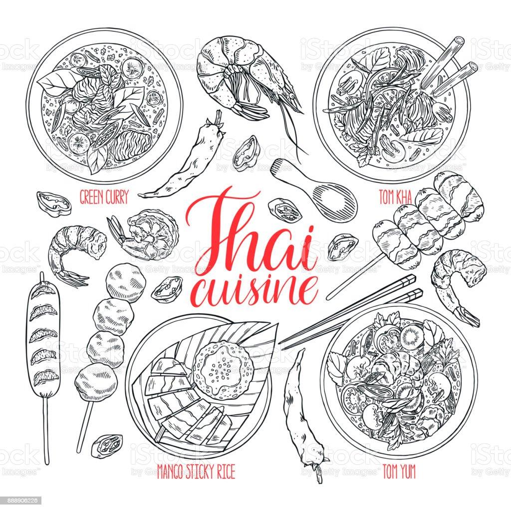 conjunto de cozinha tailandesa - ilustração de arte em vetor