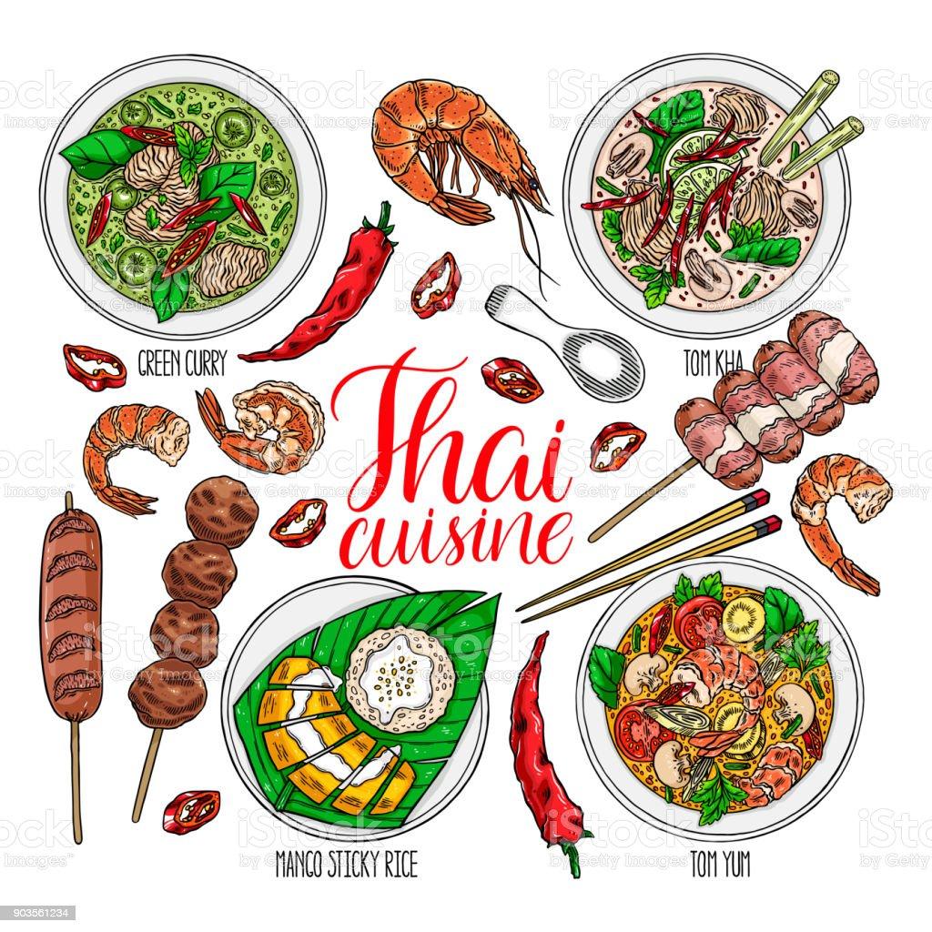 conjunto de cocina tailandesa - ilustración de arte vectorial