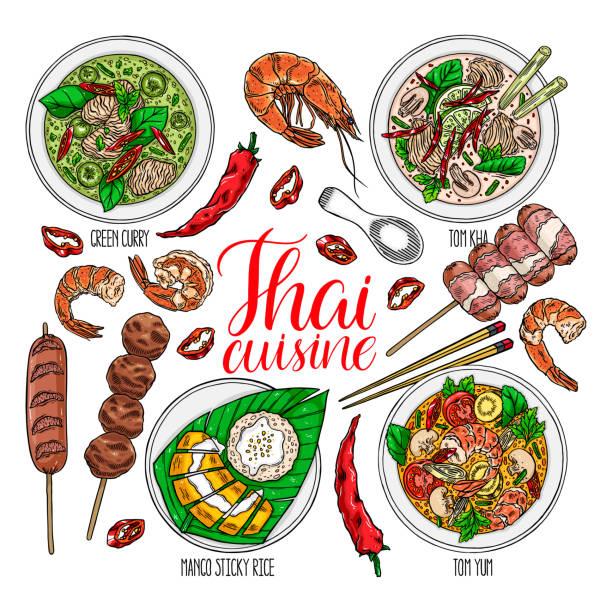 set of thai cuisine - thai food stock illustrations, clip art, cartoons, & icons