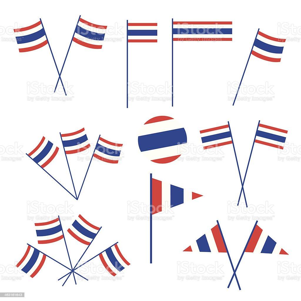 Ensemble de Drapeau thaïlandais sur fond blanc - Illustration vectorielle