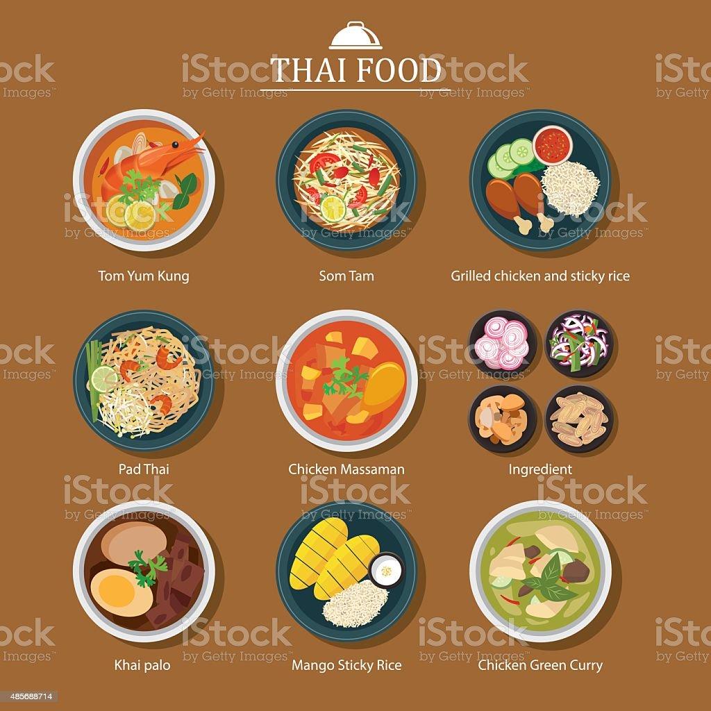 Conjunto de comida tailandesa - ilustração de arte em vetor