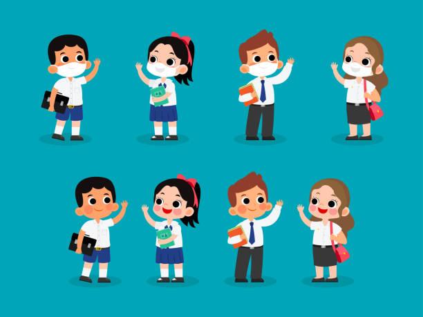 stockillustraties, clipart, cartoons en iconen met reeks thaise middenschool en universitaire studentuniformen vectorillustratie. het dragen van masker en zonder maskerkarakter - schooluniform