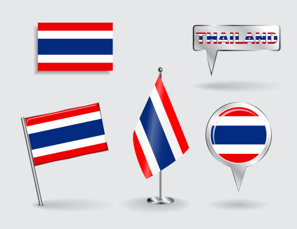 set of thailand pin, icon and map pointer flags. vector - thai flag stock illustrations, clip art, cartoons, & icons