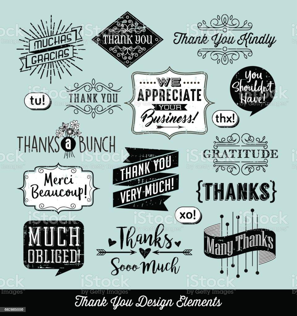 Satz von danke Typografie Designelemente mit separaten distressed Ebene. Vektor-Illustration. – Vektorgrafik