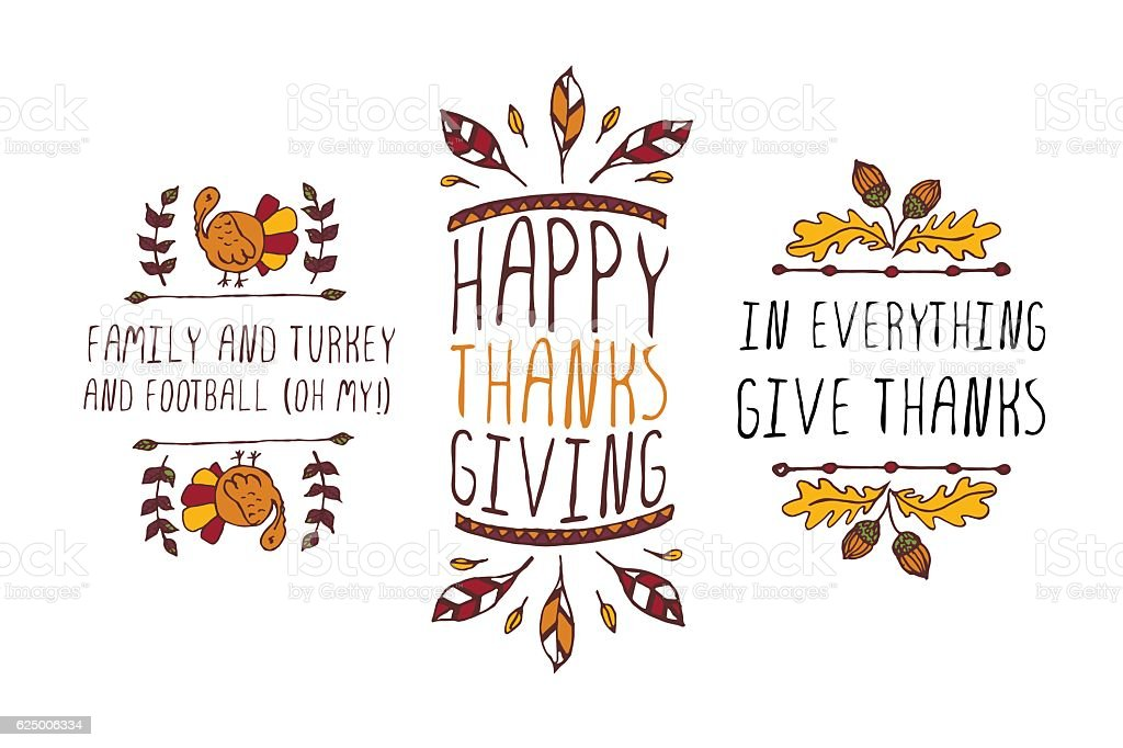 Set of Thanksgiving elements and text on white background vector art illustration