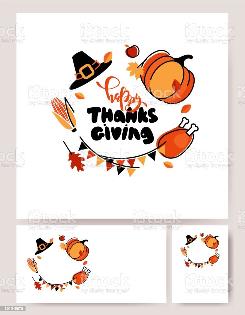 Set Of Thanksgiving Posters With Cute Symbols And Hand Lettering