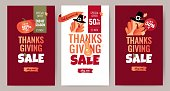 Set of Thanksgiving sale cartoon posters. Thanksgiving autumn background with leaves, pumpkin and cute turkey. Vector illustration.