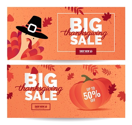 Set of Thanksgiving sale cartoon posters.