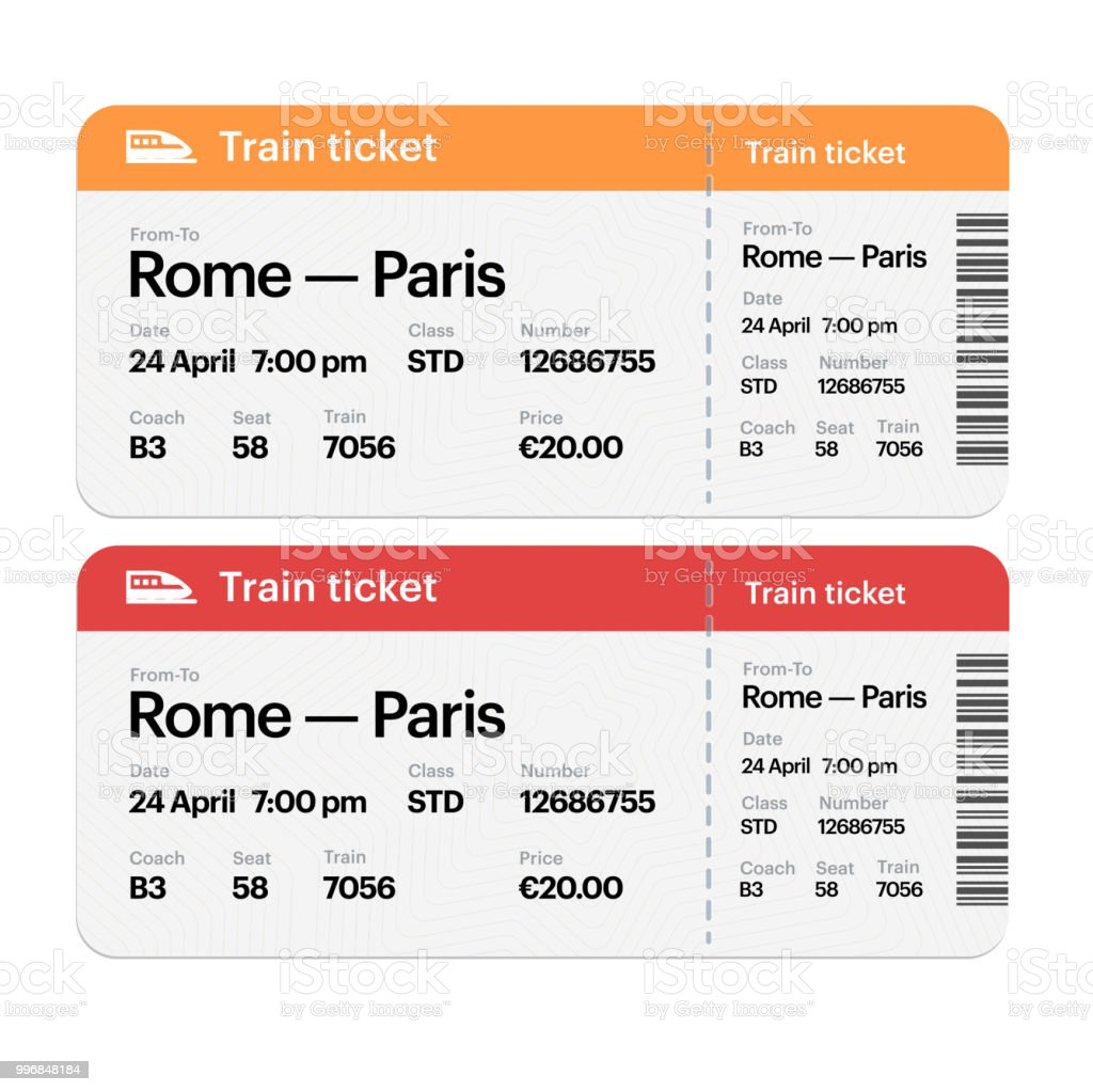 Set Of The Airline Boarding Pass Tickets Isolated On White