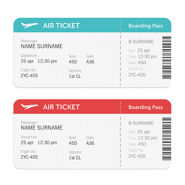 Set of the airline boarding pass tickets Set of the airline boarding pass tickets. Isolated on white background. Vector flat design airplane ticket stock illustrations