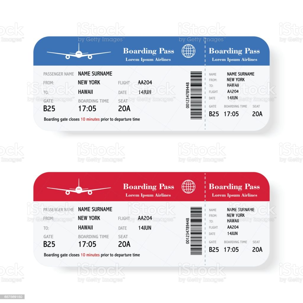 Set of the airline boarding pass tickets with shadow. Isolated on white background. Vector illustration.