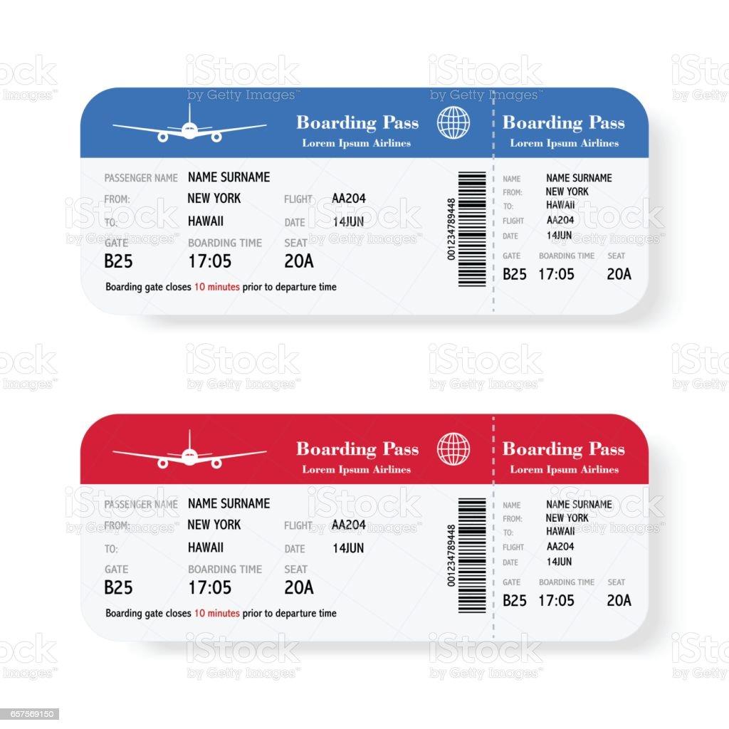 Satz von der Fluggesellschaft boarding Pass Tickets mit Schatten. Isoliert auf weißem Hintergrund. Vektor-Illustration. – Vektorgrafik
