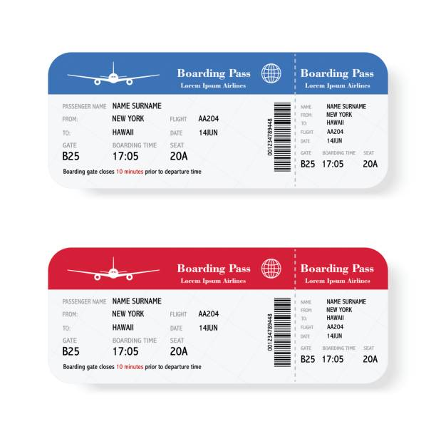 set of the airline boarding pass tickets with shadow. isolated on white background. vector illustration. - airplane ticket stock illustrations
