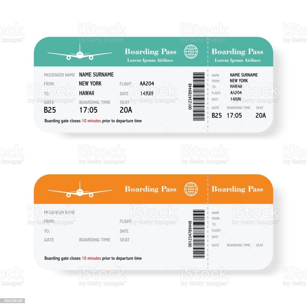 Conjunto de la línea aérea boarding pass entradas con sombra. Aislado sobre fondo blanco. Ilustración de vector. - ilustración de arte vectorial
