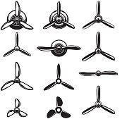 Set of the airplane propellers. Design elements for label, sign. Vector illustration