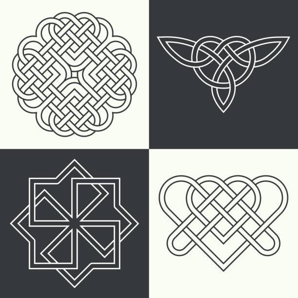 ilustrações, clipart, desenhos animados e ícones de conjunto de antiga - fontes de tatuagem