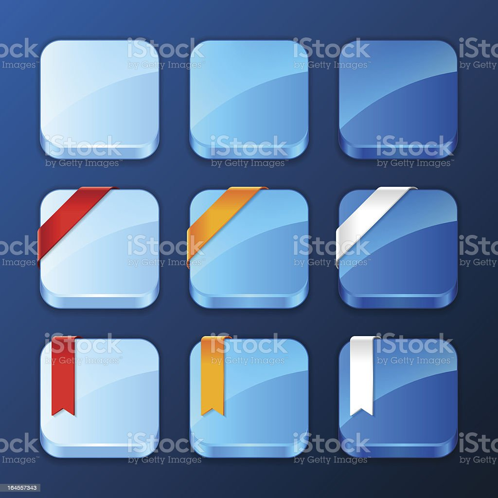 Set of the app icons with ribbons and banners. royalty-free set of the app icons with ribbons and banners stock vector art & more images of accessibility