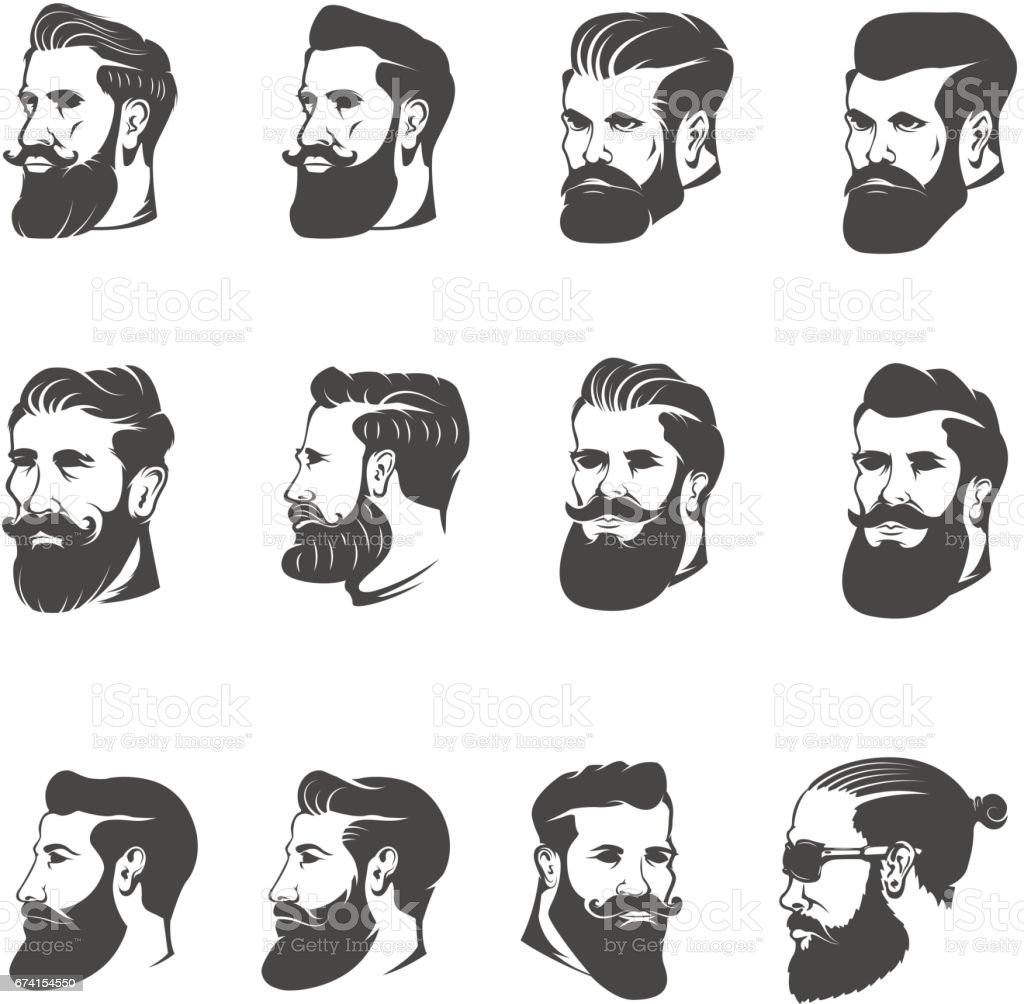 set of the bearded man head isolated on white background. Images for label, emblem. Vector illustration. vector art illustration