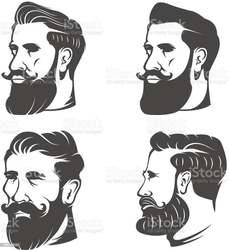 Set of the bearded man's head isolated on white background. Design elements for barber shop emblem, badge, sign, brand mark. vector art illustration