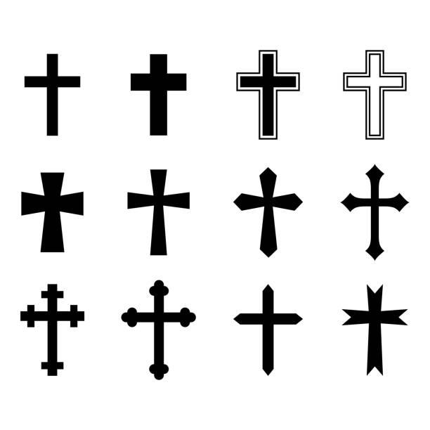 검은 십자가의 집합입니다. 기독교 십자가입니다. 아이콘 모음입니다. 벡터 일러스트 레이 션 - 십자가 stock illustrations