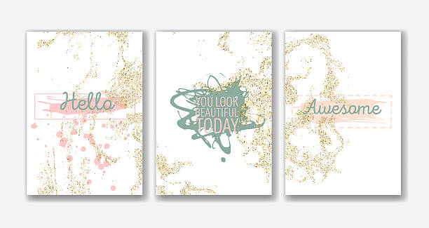Set of the blank gold glitter card templates. Set of the blank gold glitter card templates. Ideally for the Save The Date, baby shower, valentines day, xmas invitations, book cover, flyers, leaflets. beautiful people stock illustrations