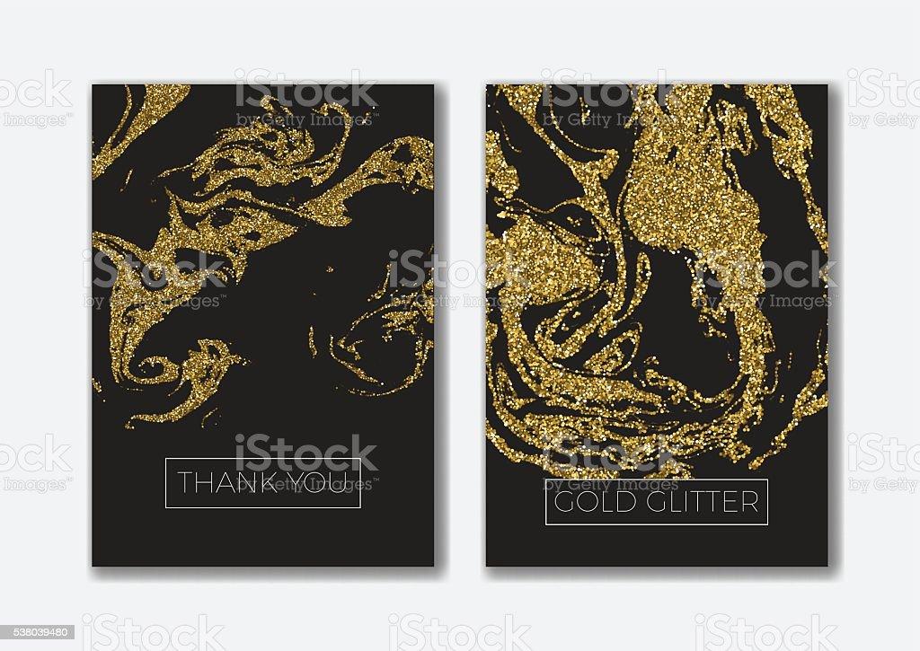 Set of the blank gold glitter card templates. vector art illustration