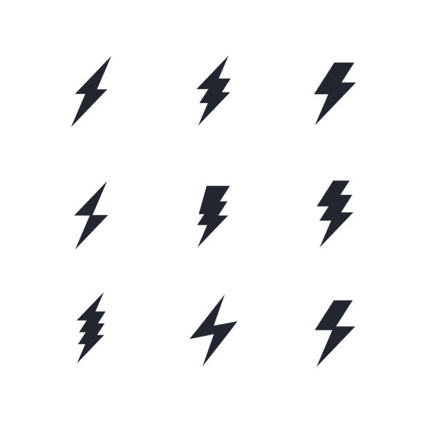 set of the bolts of lightning. Vector minimalistic flash icons. Thunder elements. Flat design. set of the bolts of lightning. Vector minimalistic flash icons. Thunder elements. Flat design lightning stock illustrations