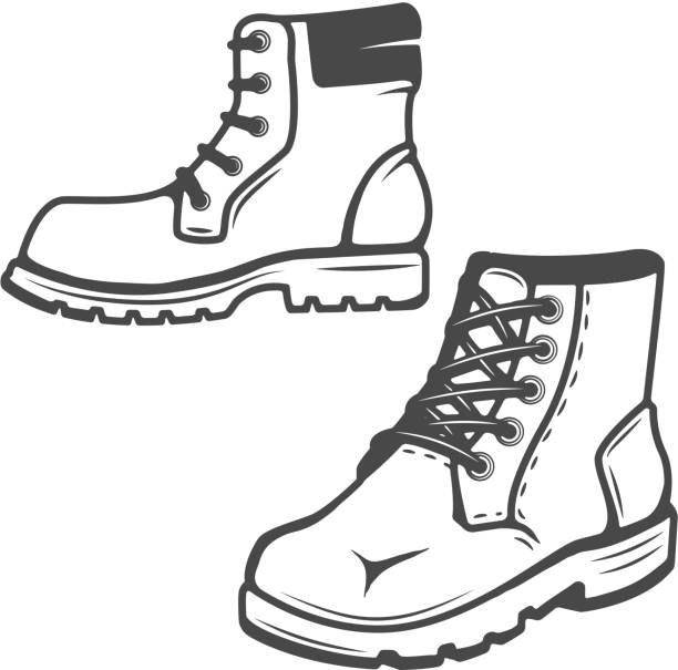 set of the boots icons isolated on white background. images for  label, emblem. vector illustration. - boot stock illustrations