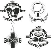 Set of the boxing club labels and badges.  Vector illustration.