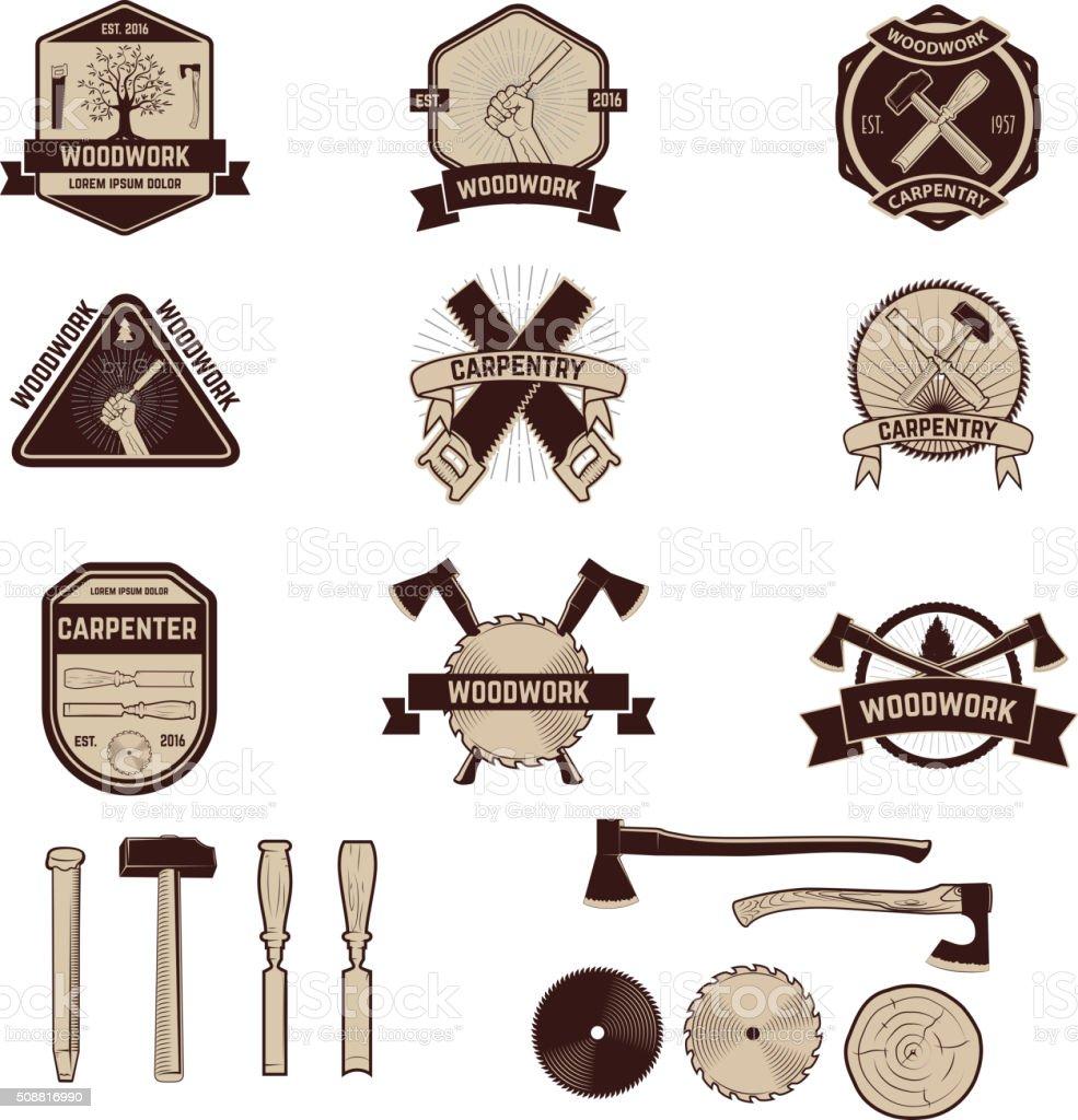 Set of the carpentry labels and emblems. Woodworks vector art illustration