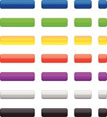 Collection of the Colored Glossy Internet Web Buttons. Square and Rectangle  shapes on the white background