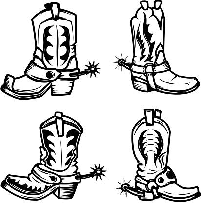 Set of the cowboy boots illustrations. Design elements for label, emblem, sign, badge. Vector illustration