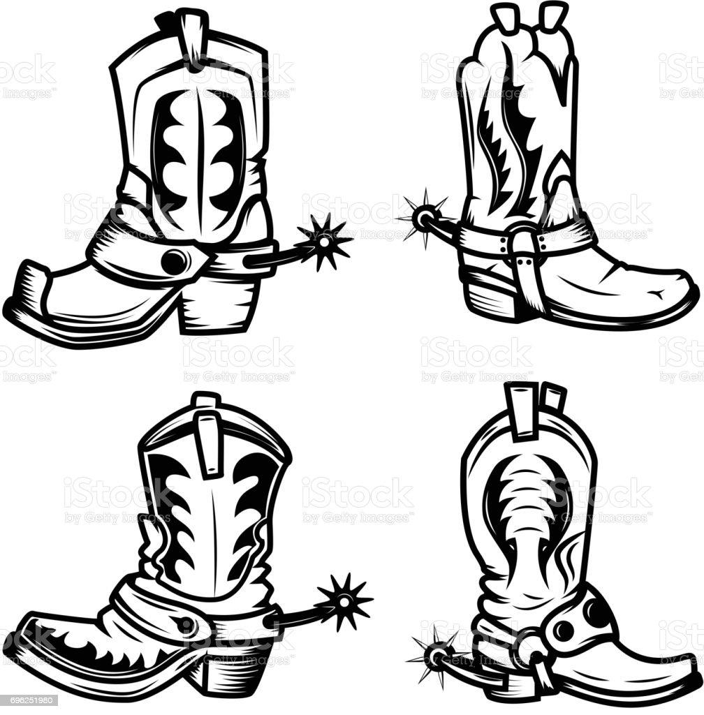Set of the cowboy boots illustrations. Design elements for label, emblem, sign, badge. Vector illustration vector art illustration