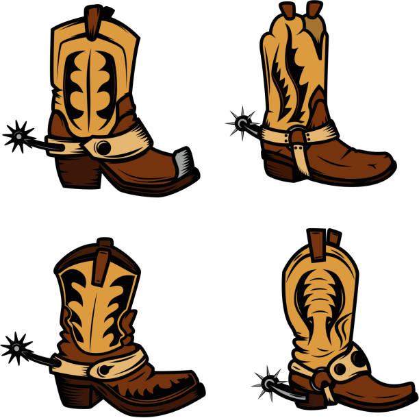 satz von der cowboy-stiefel-illustrationen. design-elemente für abzeichen, emblem, label und zeichen. vektor-illustration - cowboystiefel stock-grafiken, -clipart, -cartoons und -symbole