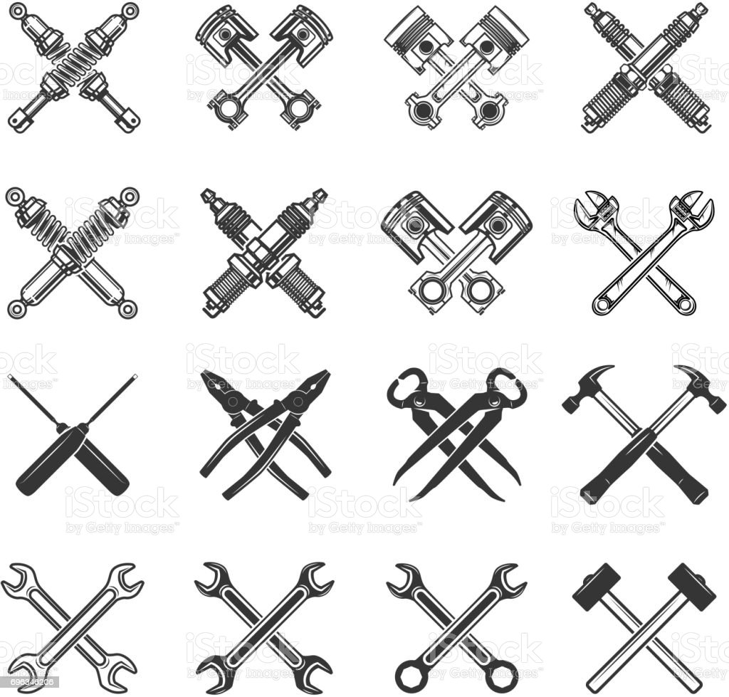 Set Of The Crossed Tools And Car Parts Design Elements For Label ...