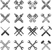 Set of the crossed tools and car parts. Design elements for label, emblem, sign, badge. Vector illustration