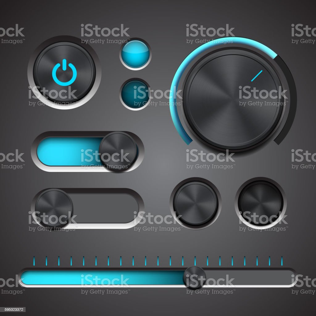 Set of the detailed UI elements vector art illustration