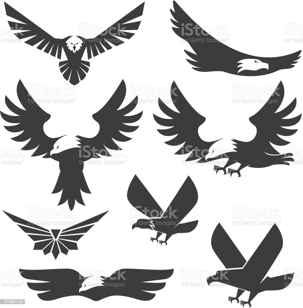 Set of the eagles icons and logo templates. vector art illustration