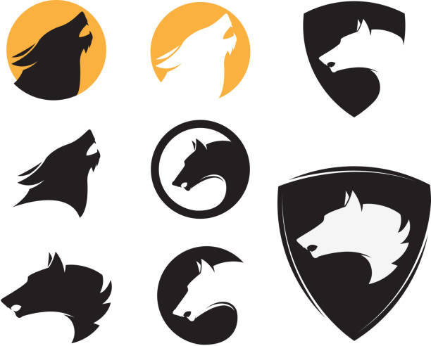 Set of the emblem templates with wolf heads. Design elements Set of the emblem templates with wolf heads. Design elements for  label, e silhouette of a howling coyote stock illustrations