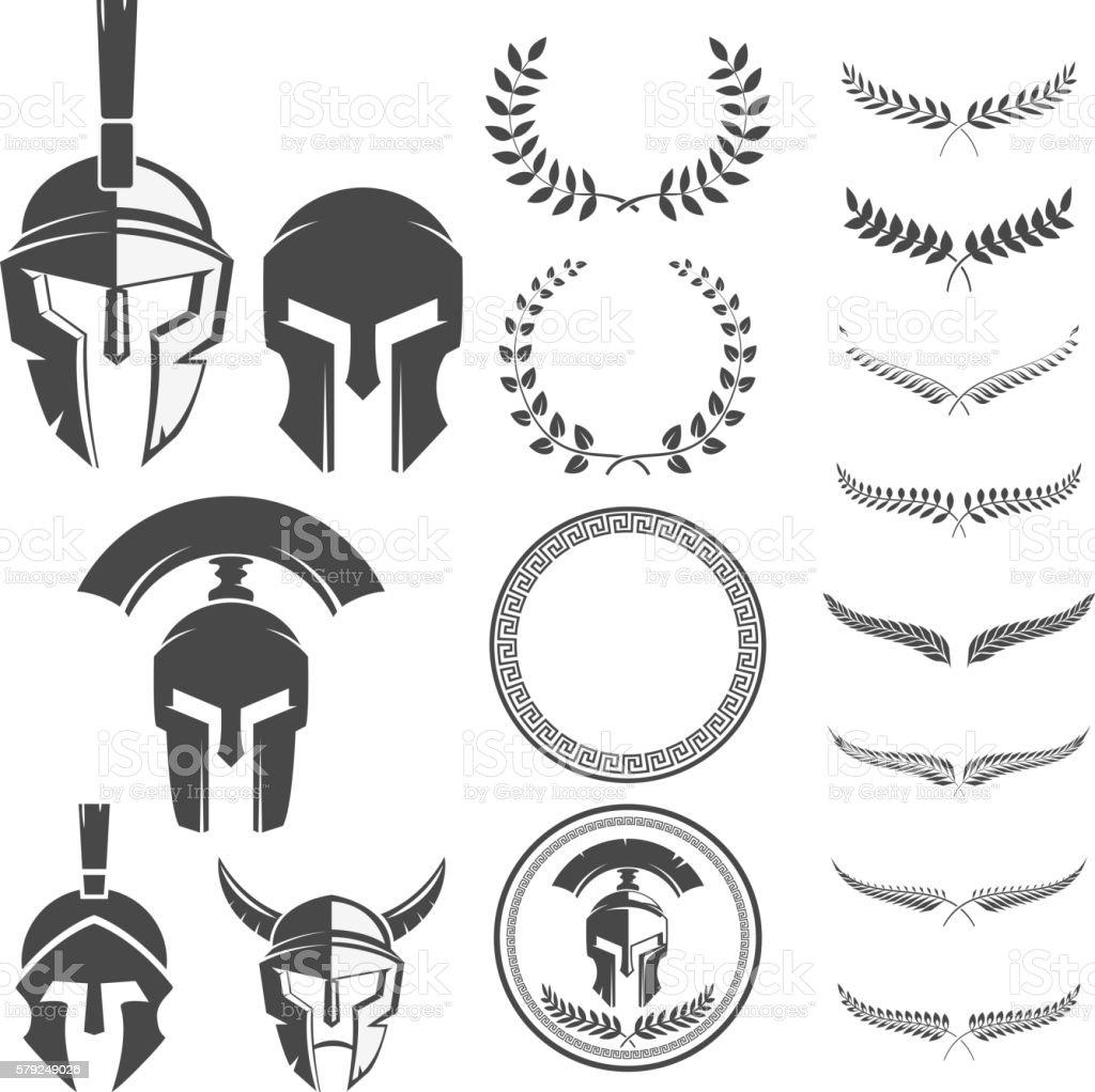 Set of the emblems templates with helmet. Spartan warrior helmet vector art illustration