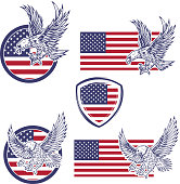Set of the emblems with eagles on usa flag background. Design elements for label, emblem, sign. Vector illustration
