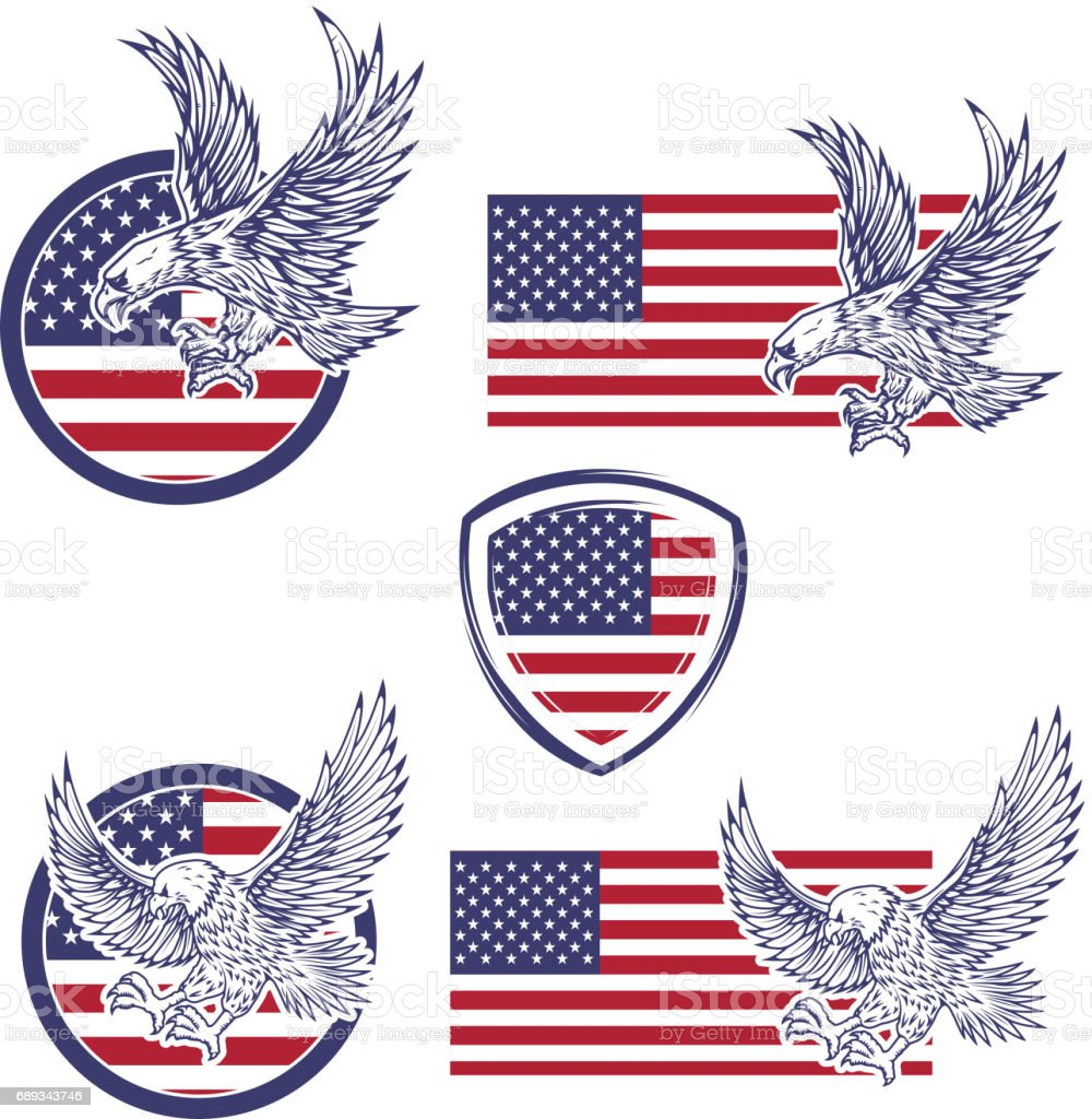 Set of the emblems with eagles on usa flag background. Design elements for label, emblem, sign. Vector illustration vector art illustration