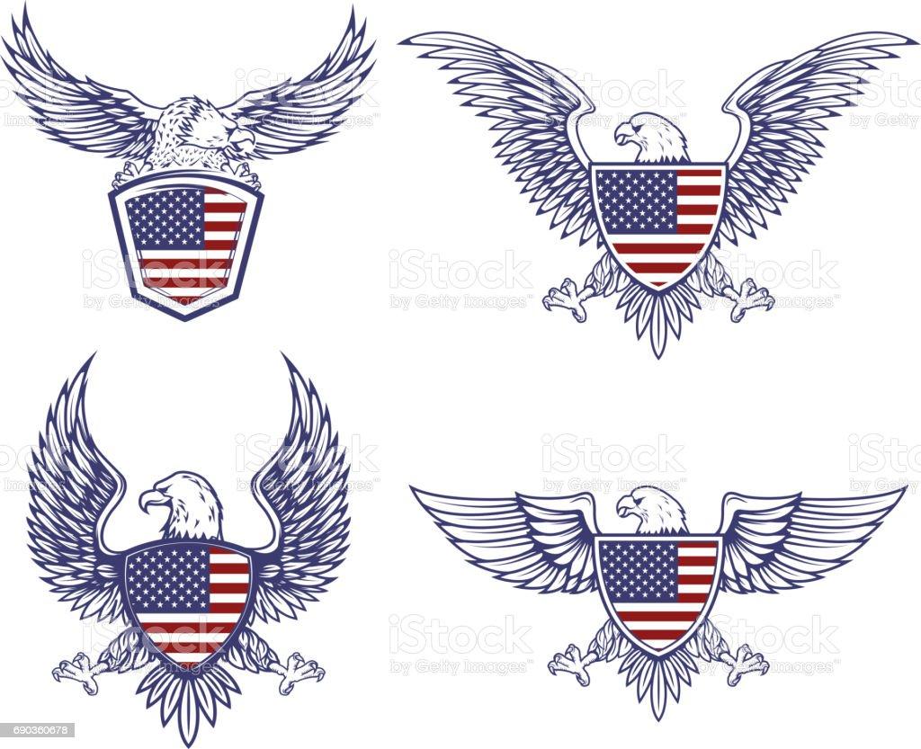 Conjunto de los emblemas con las águilas en el fondo de bandera de Estados Unidos. Elementos de diseño para la etiqueta, emblema, signo. Ilustración de vector - ilustración de arte vectorial